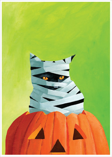 Mummy Cat (1 card/1 envelope) Allport Halloween Card  INSIDE: Wishing you a purrrrfect Halloween!