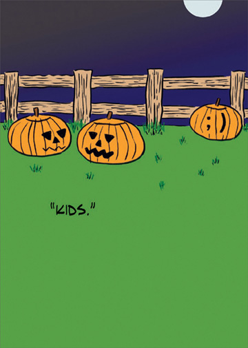Kids (1 card/1 envelope) Allport Funny Halloween Card - FRONT: �Kids.�  INSIDE: Happy Halloween!