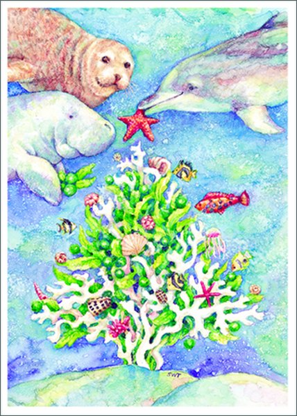 Christmas Coral (1 card/1 envelope) Allport Christmas Card  INSIDE: Let Heaven and Nature Sing