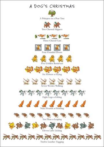 Dog's Christmas (1 card/1 envelope) Allport 12 Days of Christmas Christmas Card - FRONT: A Dog's Christmas - A Peekapoo in a Pear Tree - Two Chewed Slippers - Three Chased Cars - Four Guarded Doors - Five Golden Retrievers - Six Flowers a-Flying - Seven Westies Walking - Eight Legs a-Lifting - Nine Hounds a-Howling - Ten Fleas a-Leaping - Eleven Labs Licking - Twelve Leashes Tugging  INSIDE: Happy Holidays