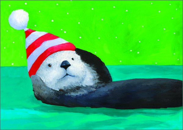Otter (15 cards/15 envelopes) - Boxed Christmas Cards  INSIDE: Happy Holidays!