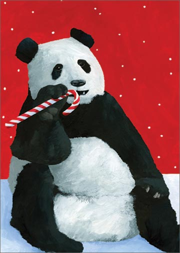 Panda Candy Cane (15 cards/15 envelopes) Allport Boxed Christmas Cards  INSIDE: Happiest Holidays!