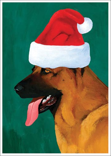 Christmas German Shepherd (15 cards/15 envelopes) Allport Dog Boxed Christmas Cards  INSIDE: Season's Greetings!