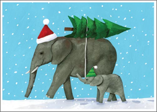 Elephant (1 card/1 envelope) - Christmas Card  INSIDE: Peace on Earth Goodwill to All