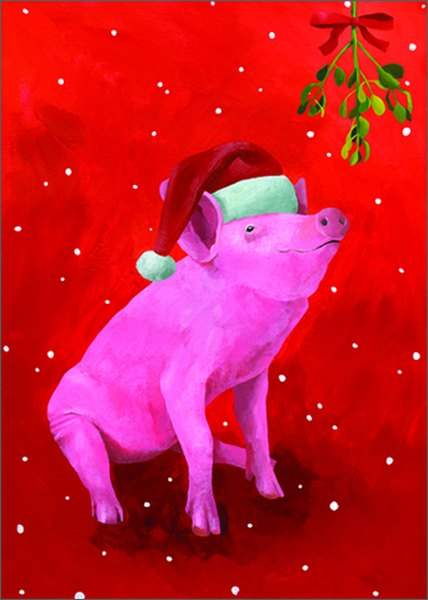 Pig (15 cards/15 envelopes) Allport Boxed Christmas Cards  INSIDE: Greetings of the Season!
