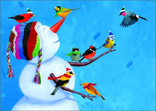 Birdies & Snowman (1 card/1 envelope) - Christmas Card  INSIDE: Greetings of the Season!