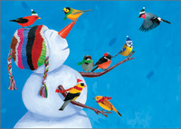 Birdies & Snowman Christmas Card
