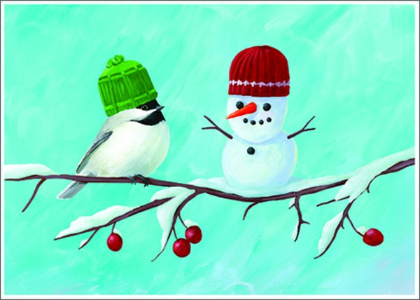 Bird And Snowman (1 card/1 envelope) Allport Christmas Card  INSIDE: Greetings of the Season!