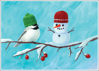 Bird And Snowman Christmas Card