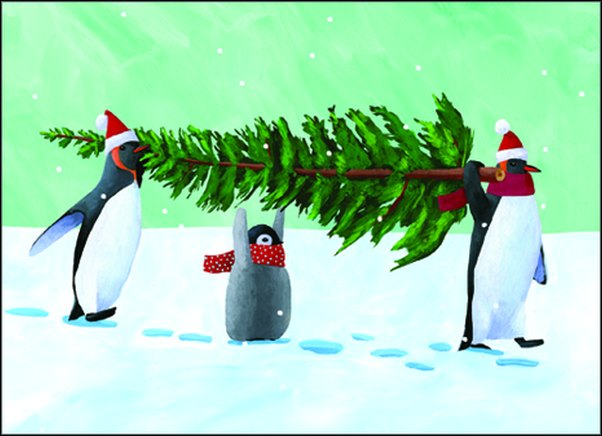 Penguin Tree (15 cards/15 envelopes) - Boxed Christmas Cards  INSIDE: Wishing you all the Joys of the Season!