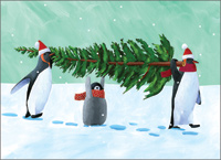 Penguin Tree Christmas Card