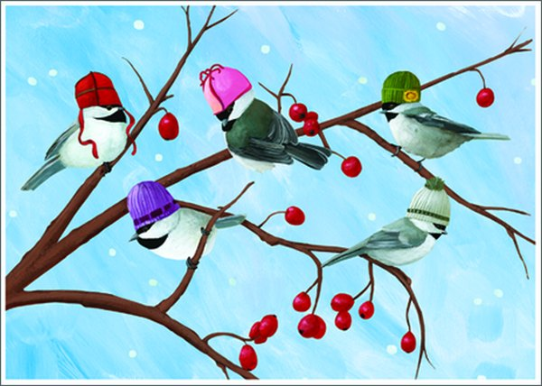 Five Birds (1 card/1 envelope) Allport Christmas Card  INSIDE: Season's Greetings!