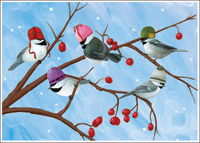Five Birds Box of 15 Christmas Cards