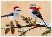 Two Birds in Winter Boots, Scarf & Hat (15 cards/15 envelopes) Allport Boxed Christmas Cards