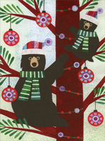 Bears Climbing Tree Christmas Card
