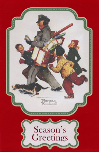 Norman Rockwell Mailman Box of 12 Christmas Cards by American ...