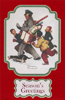 Norman Rockwell Mailman (1 card/1 envelope) - Christmas Card - FRONT: Season's Greetings  INSIDE: May the excitement and joy of the holidays be yours to cherish today and always!