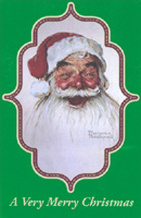 Norman Rockwell Santa (1 card/1 envelope) - Christmas Card - FRONT: A Very Merry Christmas  INSIDE: Wishing you happiness and cheer that lasts all year!