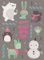 JustWink Happy Merry Joyful Day (8 cards/8 envelopes) - Boxed Christmas Cards - FRONT: HAPPY MERRY JOYFUL DAY!  INSIDE: TO YOU.