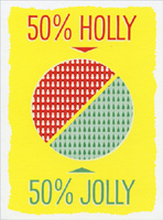 JustWink Holly Jolly (8 cards/8 envelopes) - Boxed Christmas Cards - FRONT: 50% Holly - 50% Jolly  INSIDE: Merry Christmas