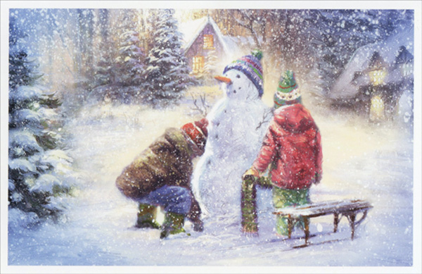 Snowman Christmas Card Ideas For Kids.Two Kids Building Snowman Christmas Card By American Greetings