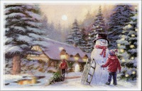 Boy, Sled and Snowman at Snowy Cottage Christmas Card