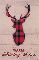 Plaid Deer Antlers Christmas Card