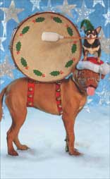 Big Dog & Little Dog with Drum (1 mini blank card/1 envelope) - Christmas Gift Enclosure Card  INSIDE: Blank Inside