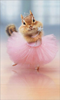 Chipmunk Ballerina (1 mini blank card/1 envelope) - Gift Enclosure Card