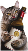 Cat Wine Bottle (1 oversized card/1 envelope) - Birthday Card  INSIDE: It's time to wine! Happy Birthday