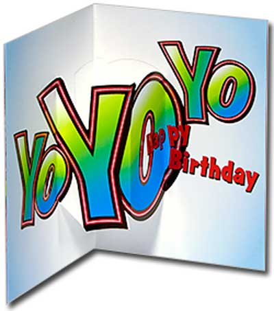 Hip Hop Frog (1 card/1 envelope) Avanti Stand Out Pop Up Birthday Card - FRONT: Hip  INSIDE: Yo Yo Yo - Happy Birthday