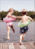 Kids Jumping Off Dock (1 card/1 envelope) - Anniversary Card  INSIDE: It was the best leap I ever took! Happy Anniversary