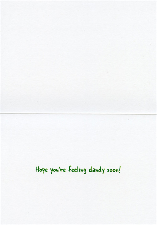Bulldog Eats Dandelion (1 card/1 envelope) Avanti Funny Dog Get Well Card  INSIDE: Hope you're feeling dandy soon!