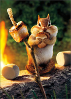 Chipmunk Roasts Marshmallow (1 card/1 envelope) - Birthday Card