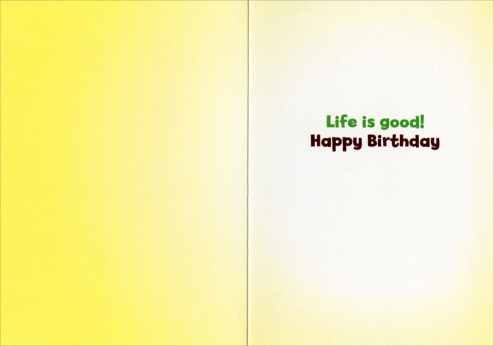 Dog Sand Tennis Ball (1 card/1 envelope) Avanti Funny Bulldog Birthday Card  INSIDE: Life is Good!  Happy Birthday