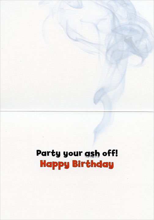 Pug Lights Cigar With Candle (1 card/1 envelope) - Birthday Card  INSIDE: Party your ash off! Happy Birthday