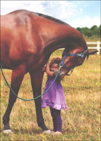 Young Girl Hugging Horse (1 card/1 envelope) Avanti Deluxe Matte Blank Card