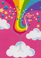 Rainbow Wine Glass (1 card/1 envelope) Avanti A*Press Funny Friendship Card