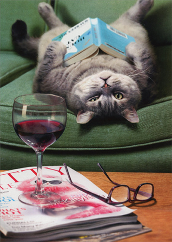 Upside Down Cat Reading Book Funny Mothers Day Card by ...