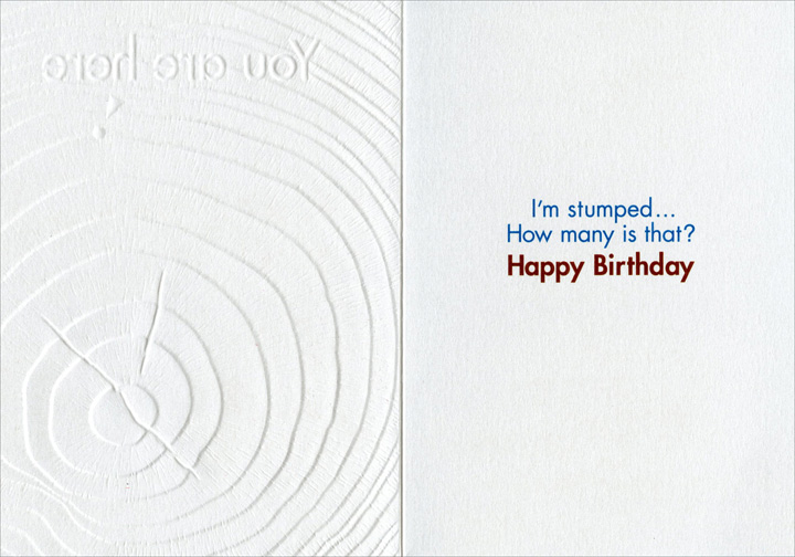 You Are Here (1 card/1 envelope) Avanti A*Press Birthday Card - FRONT: You are here  INSIDE: I'm stumped.. How many is that?  Happy Birthday