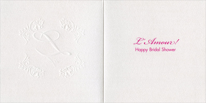 L Is For (1 card/1 envelope) Avanti A*Press Bridal Shower Card - FRONT: L is for..  INSIDE: L'Amour!  Happy Bridal Shower