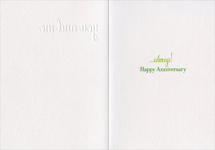 You And Me (1 card/1 envelope) Avanti A*Press Glitter Anniversary Card - FRONT: you and me  INSIDE: ..always!  Happy Anniversary
