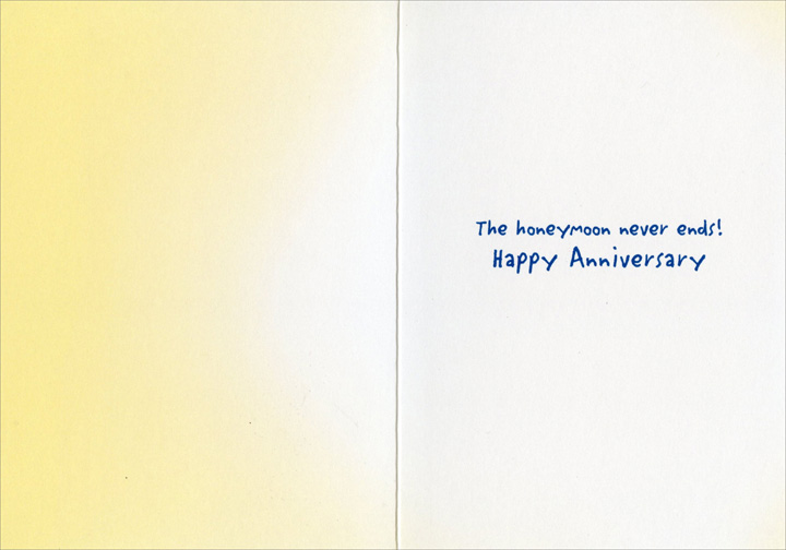 Couple Dancing In Kitchen (1 card/1 envelope) Avanti Anniversary Card - FRONT: No Text  INSIDE: The honeymoon never ends! Happy Anniversary