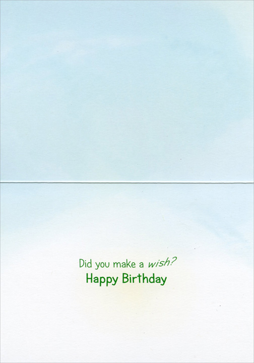 Bulldog With Dandelion (1 card/1 envelope) Avanti Funny Birthday Card - FRONT: No Text  INSIDE: Did you make a wish? Happy Birthday
