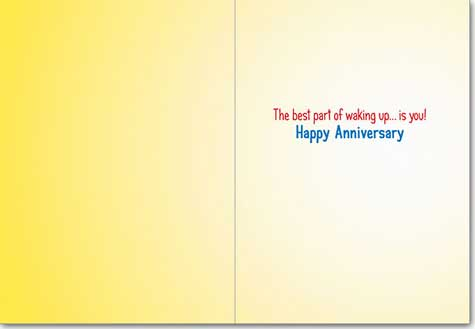 Couple In One Robe (1 card/1 envelope) Avanti Funny Anniversary Card  INSIDE: The best part of waking up� is you! Happy Anniversary