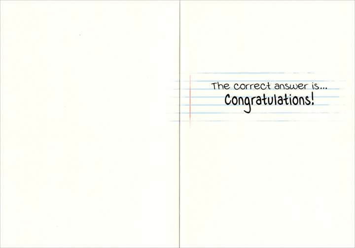 Cat Raising Hand (1 card/1 envelope) - Graduation Card  INSIDE: The correct answer is� Congratulations!