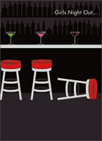 Bar Stools (1 card/1 envelope) - Birthday Card - FRONT: Girls Night Out�  INSIDE: �ends a lot earlier than it used to! Happy Birthday