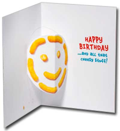 Cheese Puff Cat (1 card/1 envelope) Avanti Stand Out Pop Up Birthday Card  INSIDE: Happy Birthday �and all that cheesy stuff!
