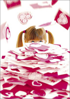 Girl Receiving Pile Of Valentines (1 card/1 envelope) - Valentine's Day Card