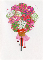 Girl On Bike With Flowers (1 card/1 envelope) - Valentine's Day Card